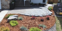 Mulch and rock beds separated with black edging with assorted perennials and shrubs