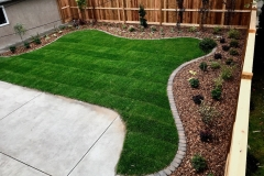 cedar fence and gates, new sod, mow brick border, curved beds - overhead