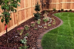 cedar fence and gates, new sod, mow brick border, curved beds