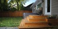 decks - cedar deck landing with wrap around stairs