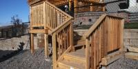 decks - cedar deck with tiered stairs and landings with cedar railings