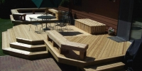 decks - pressure treated deck with customer benches storage area steps