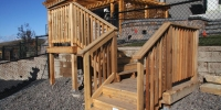 decks - cedar deck with tiered stairs and landings with cedar railings
