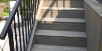 decks - composite deck stairs with black aluminum railings
