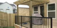 decks - pressure treated deck and pergola with black aluminum railings