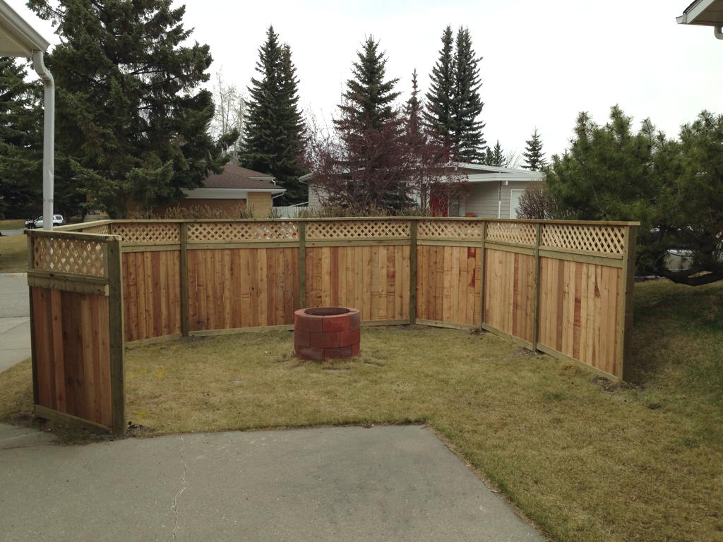 Fence gate construction calgary landscaping company assiniboine fences cedar privacy fence with lattice top and pressure treated posts baanklon Choice Image