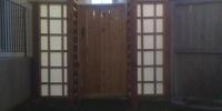 Gates - cedar gate and arbor with decorative glass gate panels