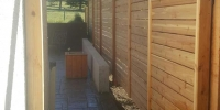Fences - horizontal cedar slat fence with matching gate