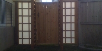 Gates - cedar gate and arbor with decorative glass gate panels