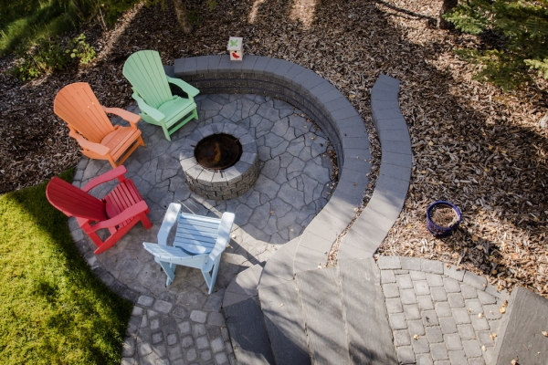 Firepit with colourful chairs
