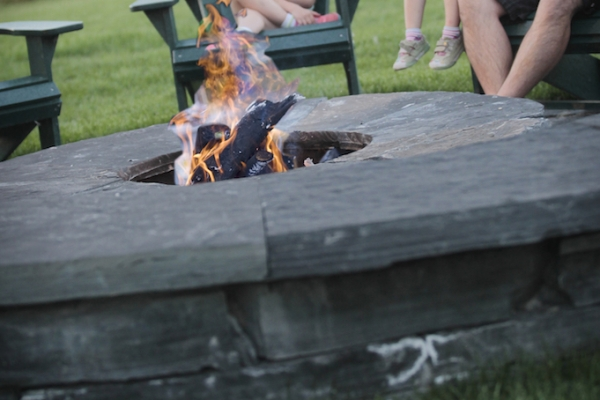 stacked rundle stone firepit