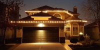 Clear Traditional Glass lights on front rooflines