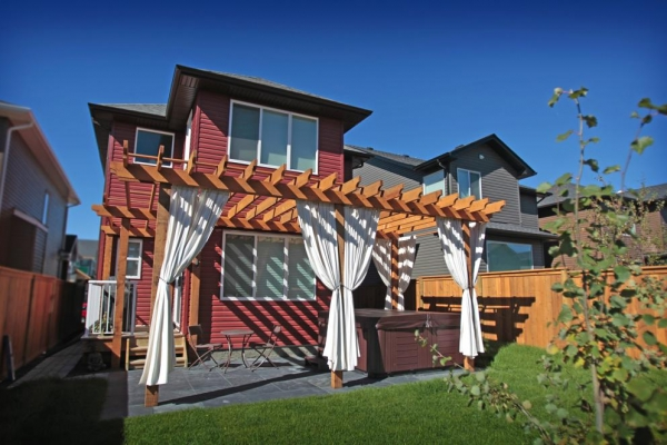 Pergola with outdoor curtains