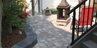 patio - Roman Euro Patio in Dessert Buff with Pisa and Capstone Step / Raised bed