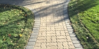 pathway - salvage pavers with a Cobble Charcoal border