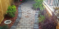 Pathway - Rustic cobble pathway with charcoal border