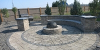 Patio - Villagio, Blu 60 & flagstone blended Stone Patio, Double Sided Stone Mini Creta Seating Wall and a Valencia firepit