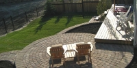 patio - Pisa and Capstone Retaining Walls with Roman Euro Patio in Dessert Buff