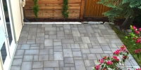 Cedar privacy lattice with columnar aspens to add privacy to the paving stone patio.
