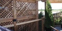 decorative cedar privacy lattice and arbor