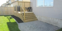 pressure treated privacy lattice and deck