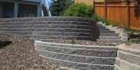retaining wall - grey cornerstone tiered wall and steps