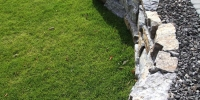 Retaining Walls - armour stone with 20 mm limestone rock