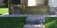 steps - roman pisa and capstone steps with roman euro pavers in rustic with charcoal border