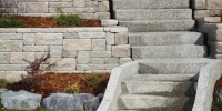 steps - exposed aggregate steps with allen block retaining wall