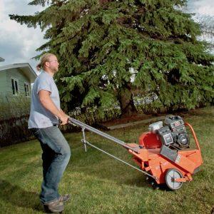 man pushing an aeration machine on lawn