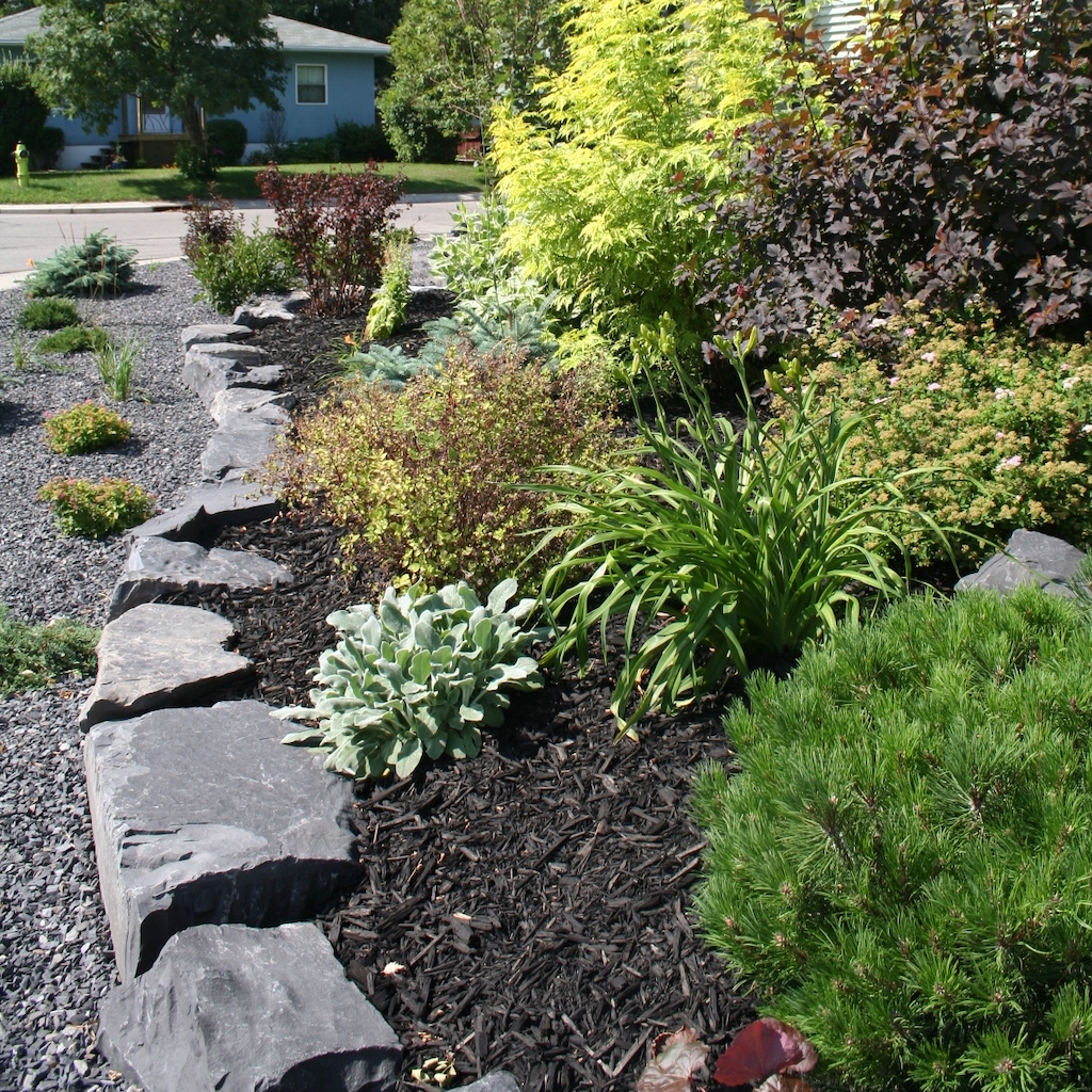 Front yard beds with freshly planted vegetation topped with black mulch and decorative rundle gravel.