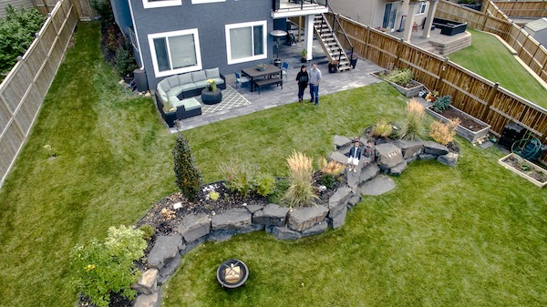 overhead view of landscaped backyard